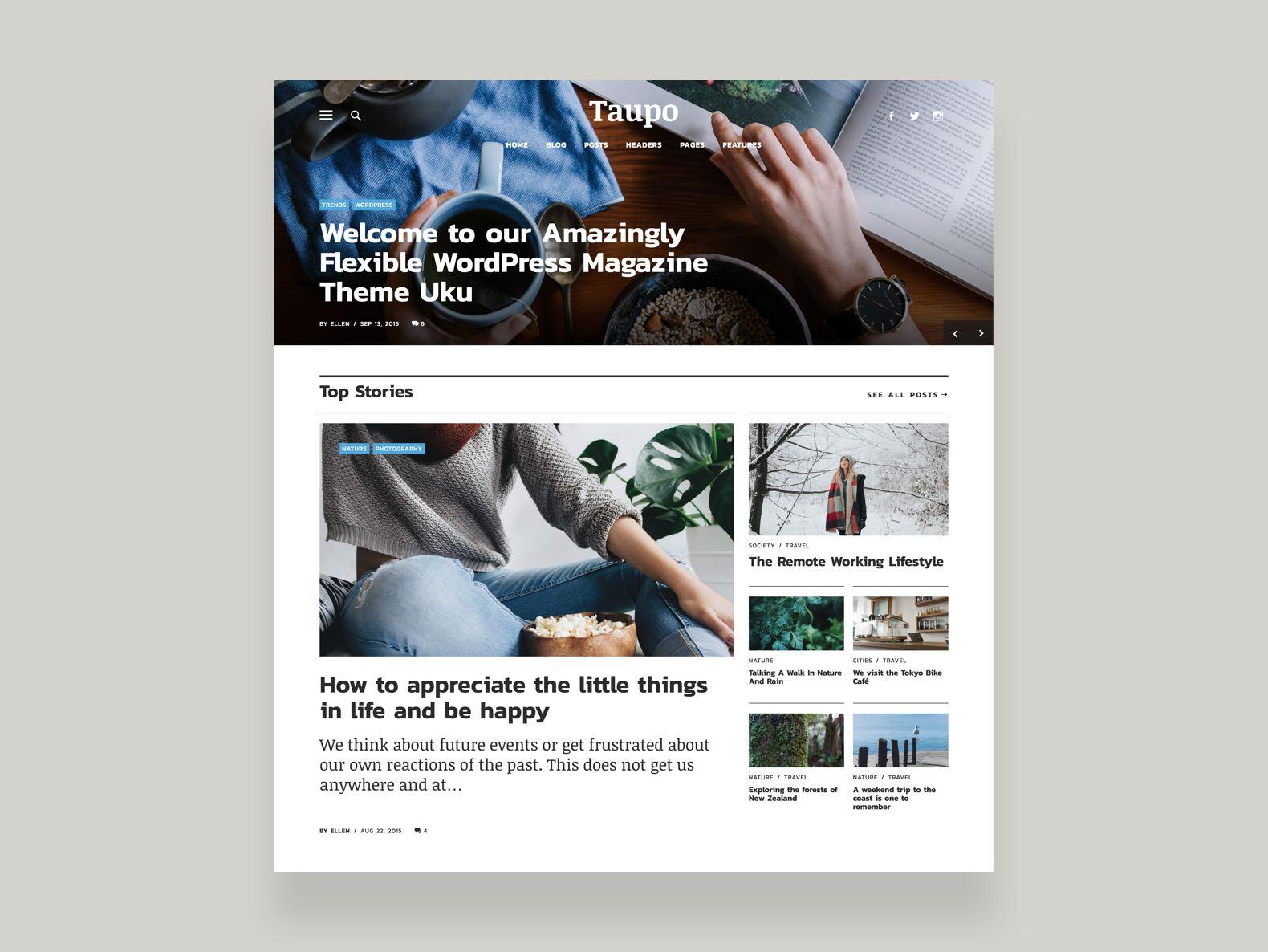 Ein Mockup des Uku-Themes von der Elmastudio-Website