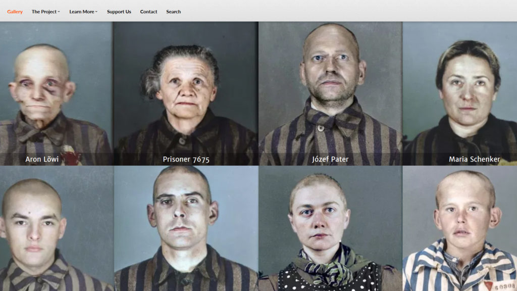 "A screenshot of the ""Faces of Auschwitz"" website showing eight colorized portrait photographs"