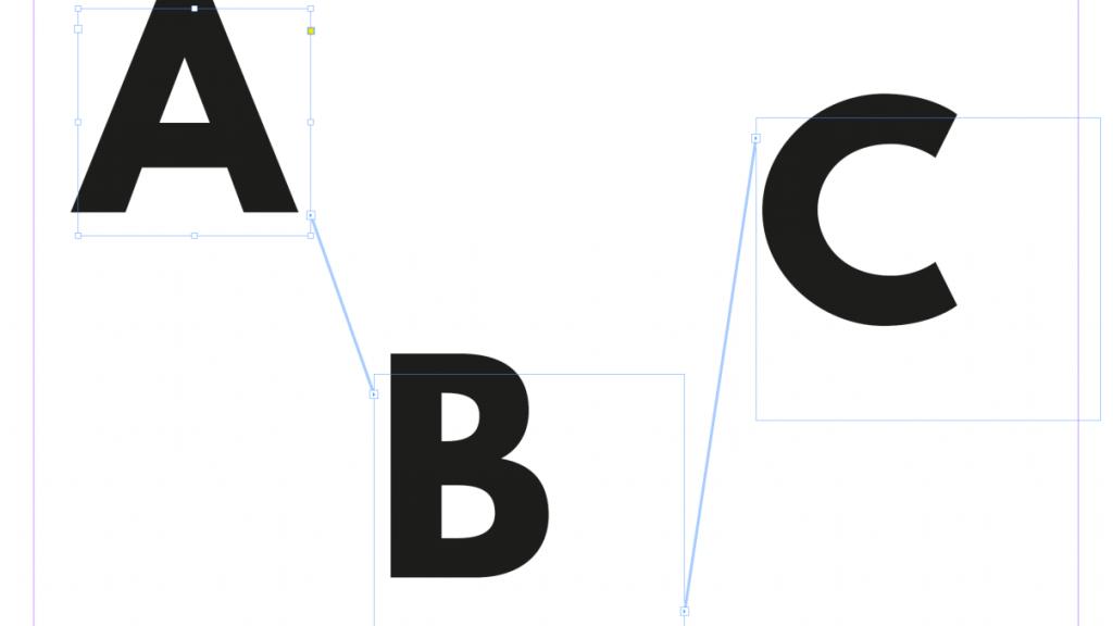 Screenshot aus InDesign mit drei verketteten Textrahmen