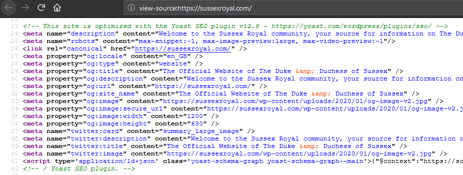 "The screenshot shows the source code of the website featuring the HTML comments ""This site is optimized with the Yoast SEO plugin"" and a couple of Open Graph tags."