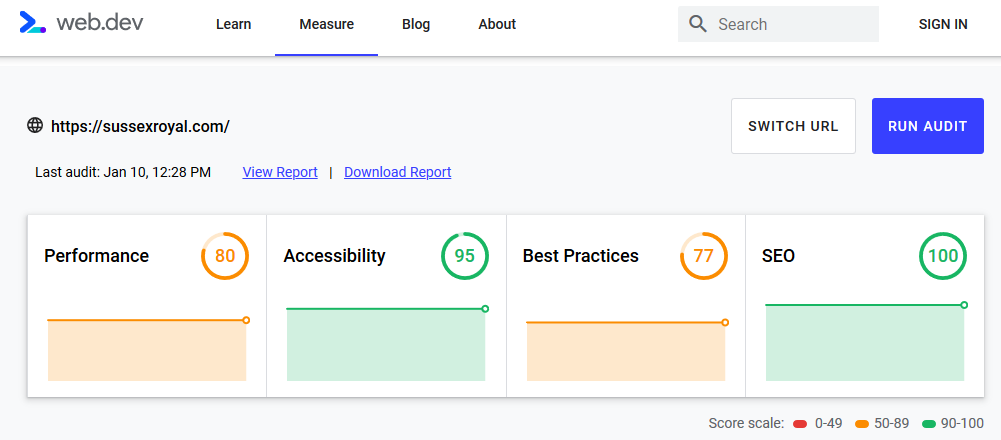 The screenshot shows the following results in web.dev: Performace 80, Accessibility 95, Best Practices 77, SEO 100
