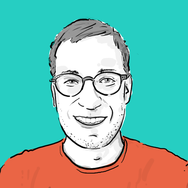 A simple illustration of the website owner, a man in his late thirties with glasses