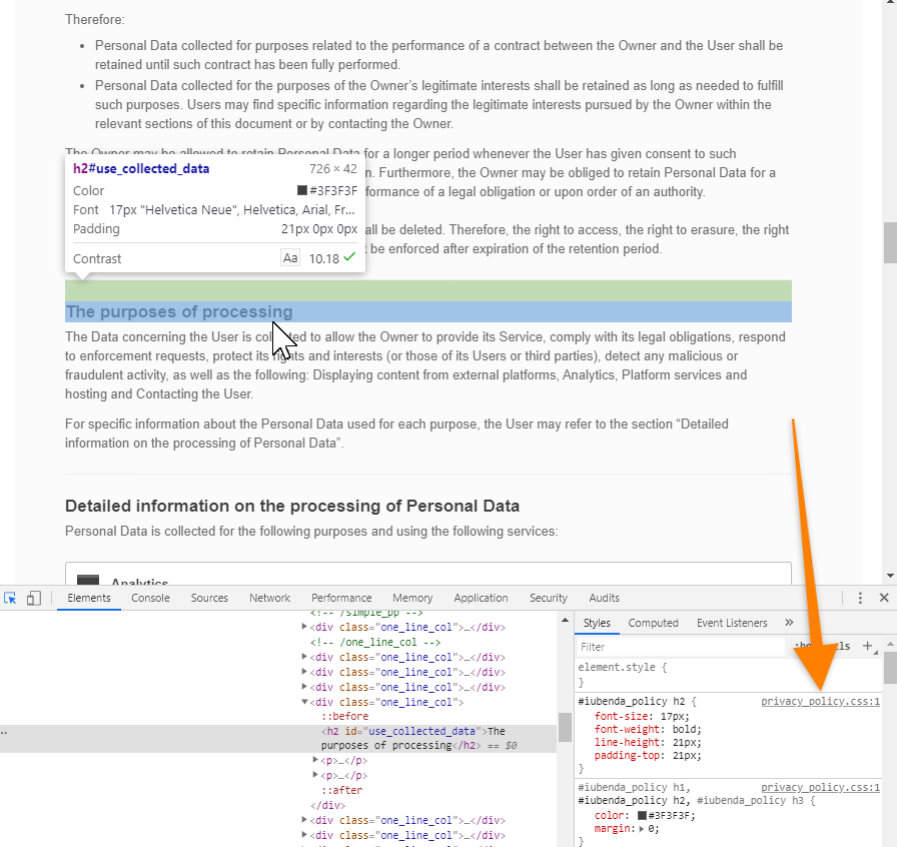 A screenshot from a website with the iubenda Privacy Policy and opened DevTools in Chrome, with an arrow added indicating where to look for the stylesheet.