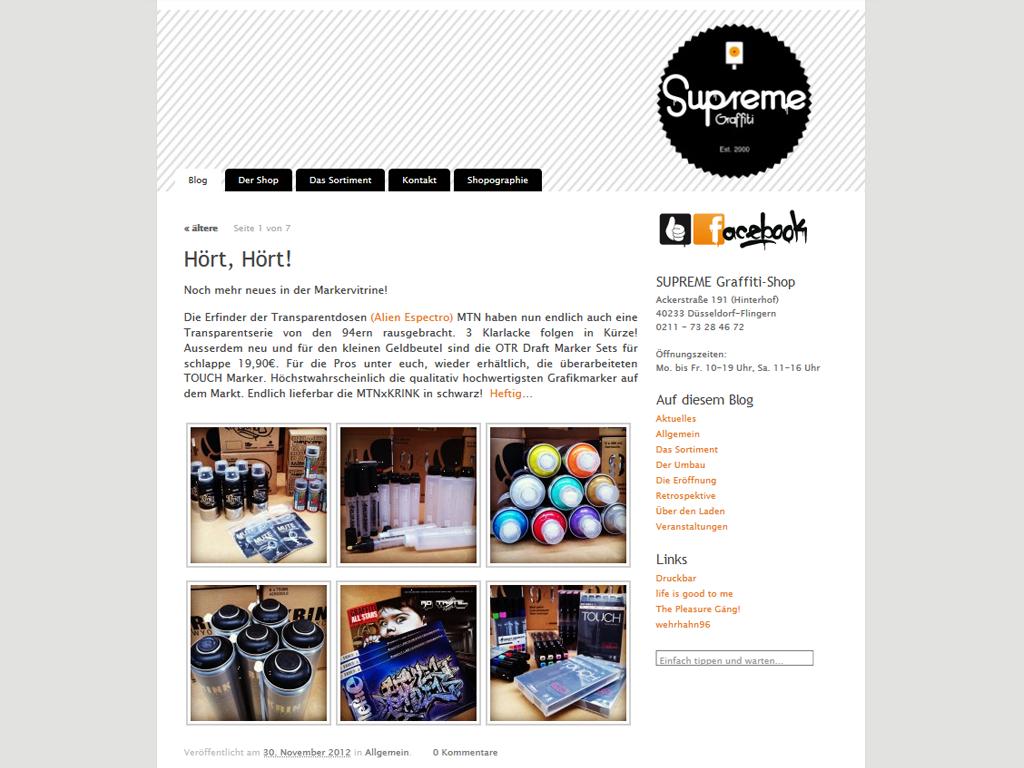 Ein Screenshot der Website mit dem aktuellsten Beitrag über neue Produkte im Graffiti-Laden, inklusive einer Galerie mit Fotos von Sprühdosen, Filzstiften und Graffiti-Magazinen.