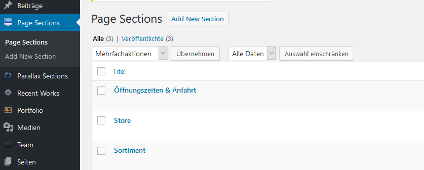 Screenshot aus dem WordPress-Dashboard