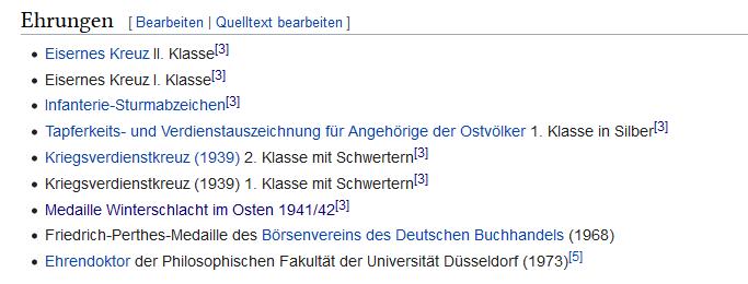 Screenshot einer Liste von Auszeichnungen aus der NS-Zeit und danach
